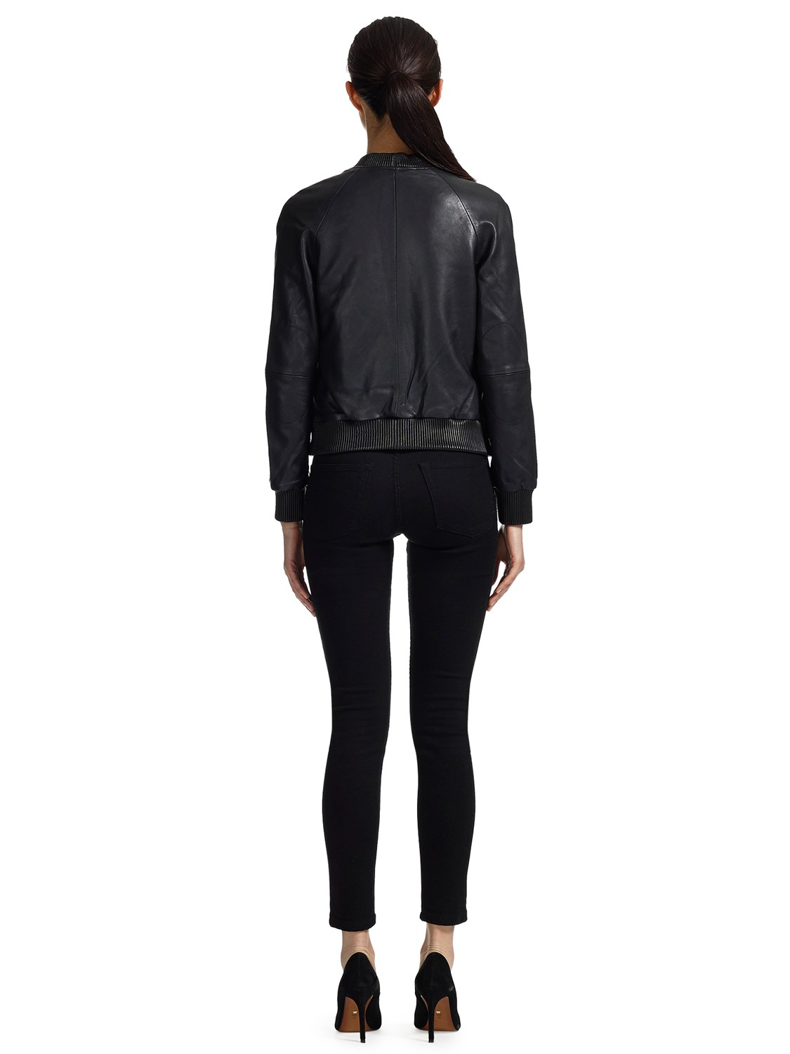 Whistles Kay Leather Bomber Jacket in Black | Lyst