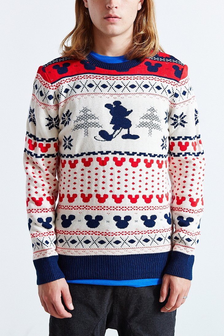 Lyst Urban Outfitters Mickey Mouse Fair Isle Crew Neck
