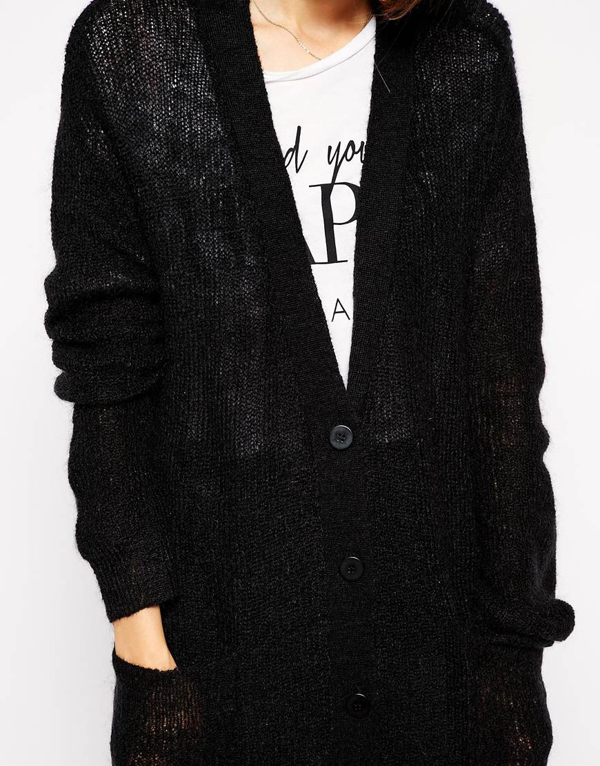 Asos Maxi Longline Cardigan In Fine Knit With Mohair in Black | Lyst