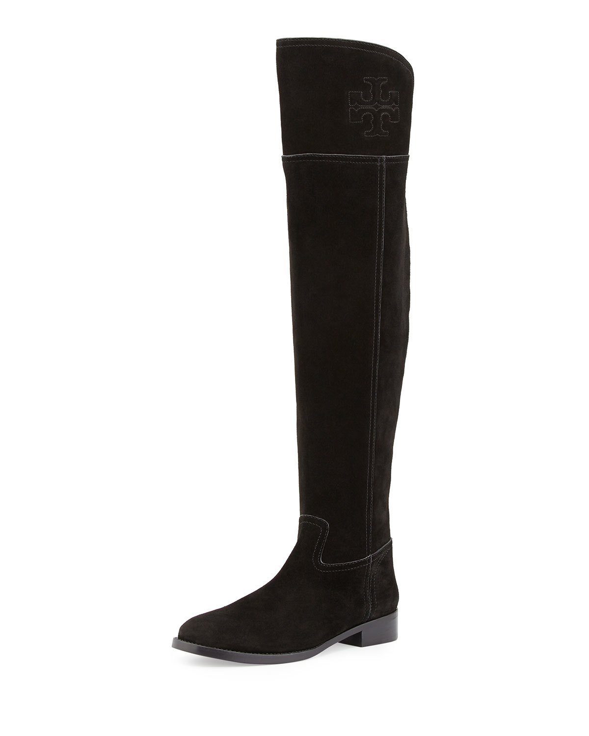 burch the knee suede boot in black lyst