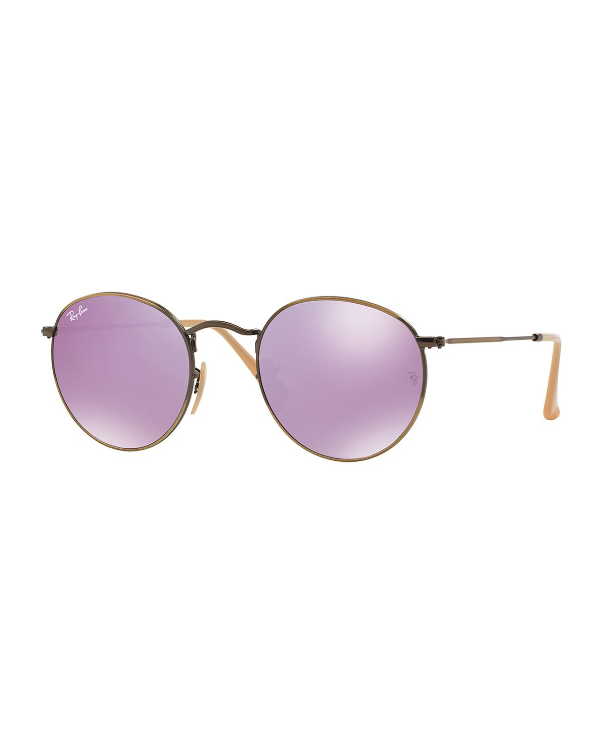 ray ban round metal sunglasses in purple lyst. Black Bedroom Furniture Sets. Home Design Ideas