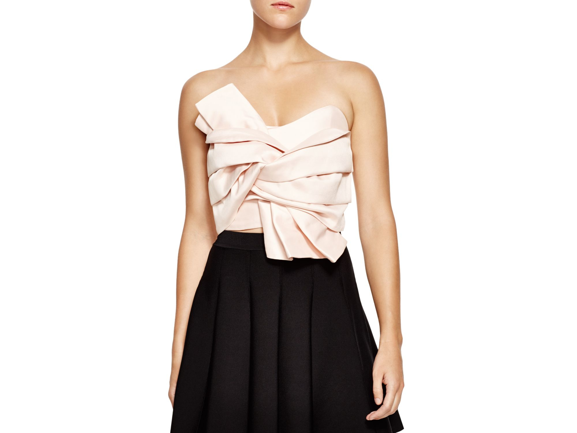 Lyst Endless Rose Cropped Bow Bustier Top In Natural