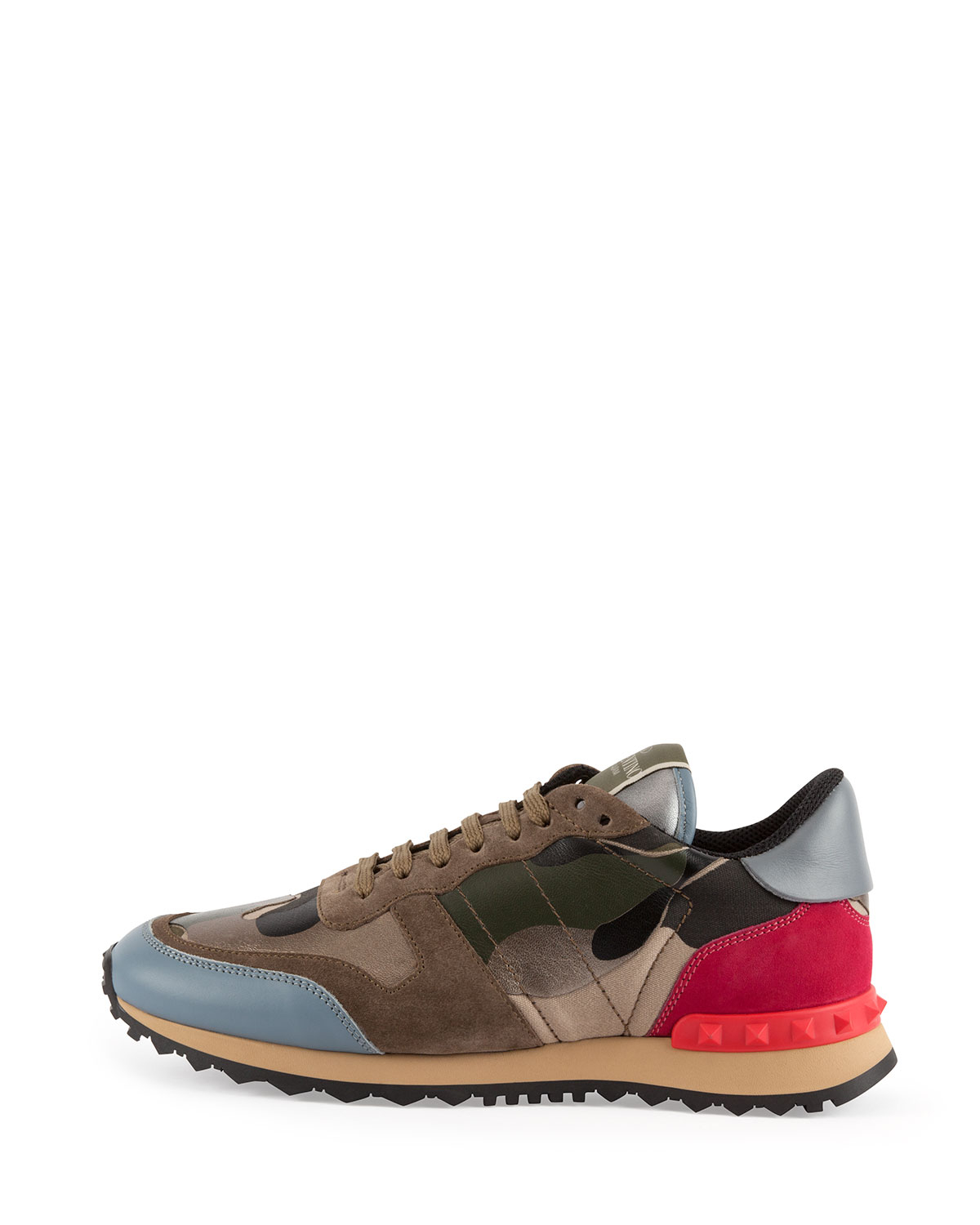 valentino rockstud metallic camo print sneaker in multicolor camo lyst. Black Bedroom Furniture Sets. Home Design Ideas