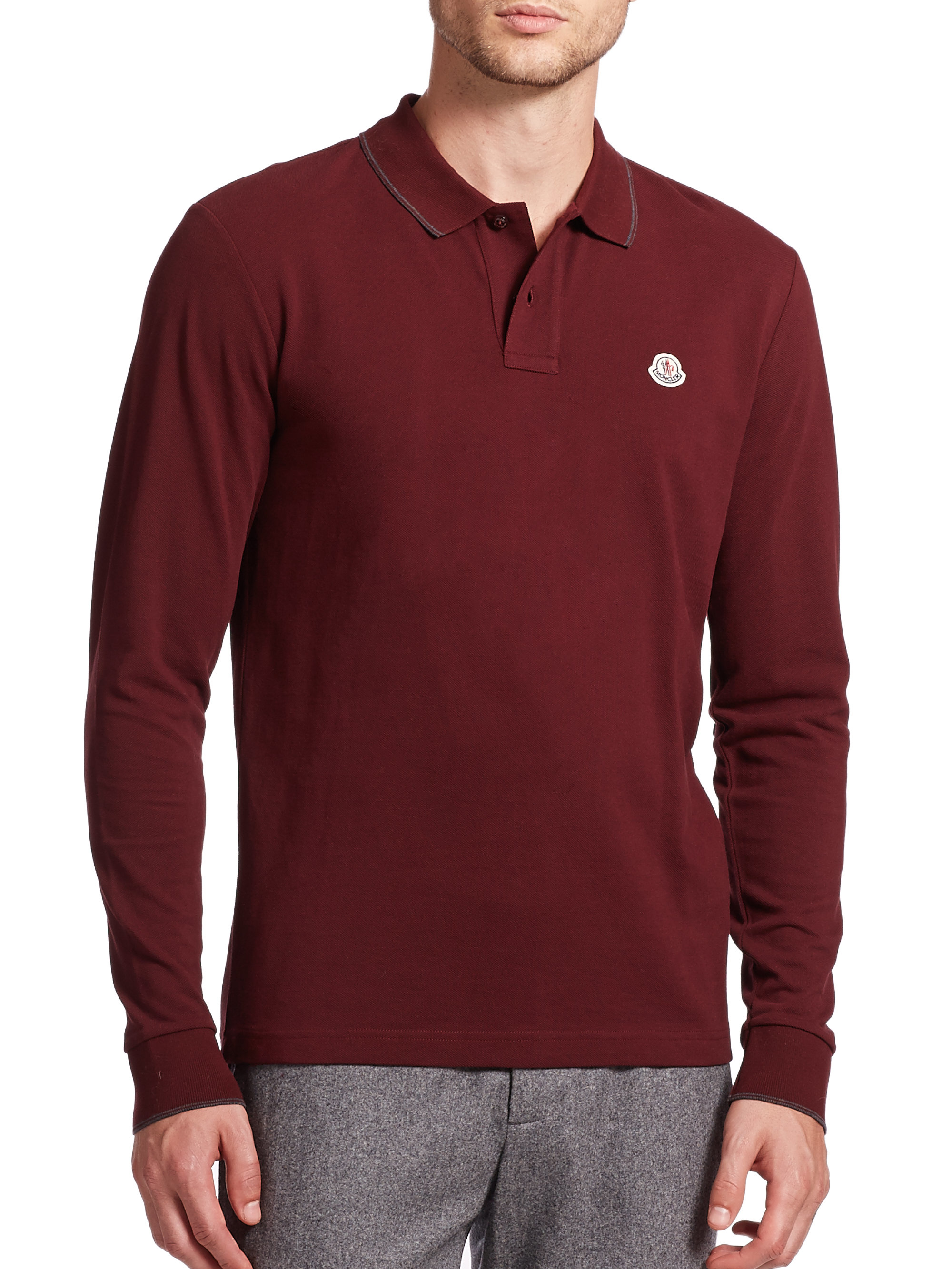 63b072915fad Lyst - Moncler Maglia Tipped Long-sleeve Polo in Gray for Men