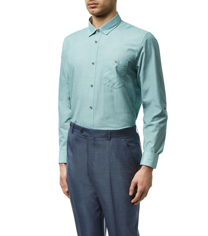 Lyst ted baker gomyway woven shirt in green for men for Ted baker shirts sale online