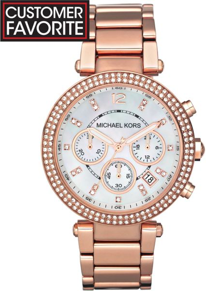 Michael Kors Women'S Chronograph Parker Rose Gold-Tone Stainless Steel Bracelet Watch 39Mm Mk5491 in Pink (rose)