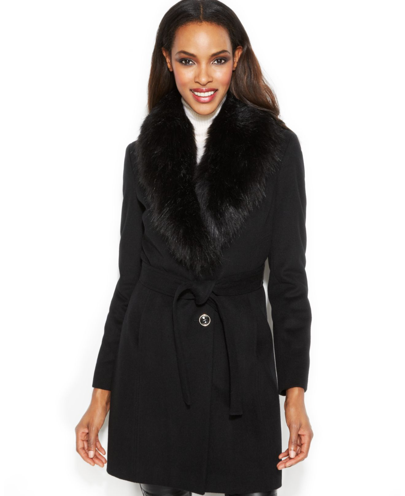 Ivanka trump Faux-Fur-Collar Belted Walker Coat in Black | Lyst