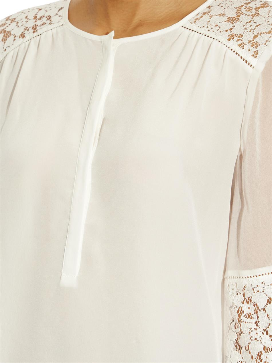 38a18850424728 Rebecca Taylor Silk And Lace Blouse in White - Lyst
