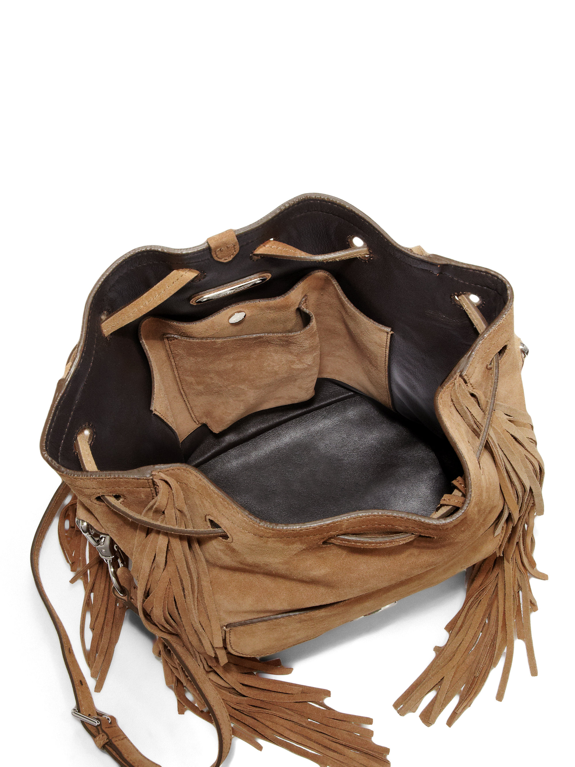 eaa4488c1c05 Lyst - Ralph Lauren Collection Ricky Fringed Suede Bucket Bag in Brown