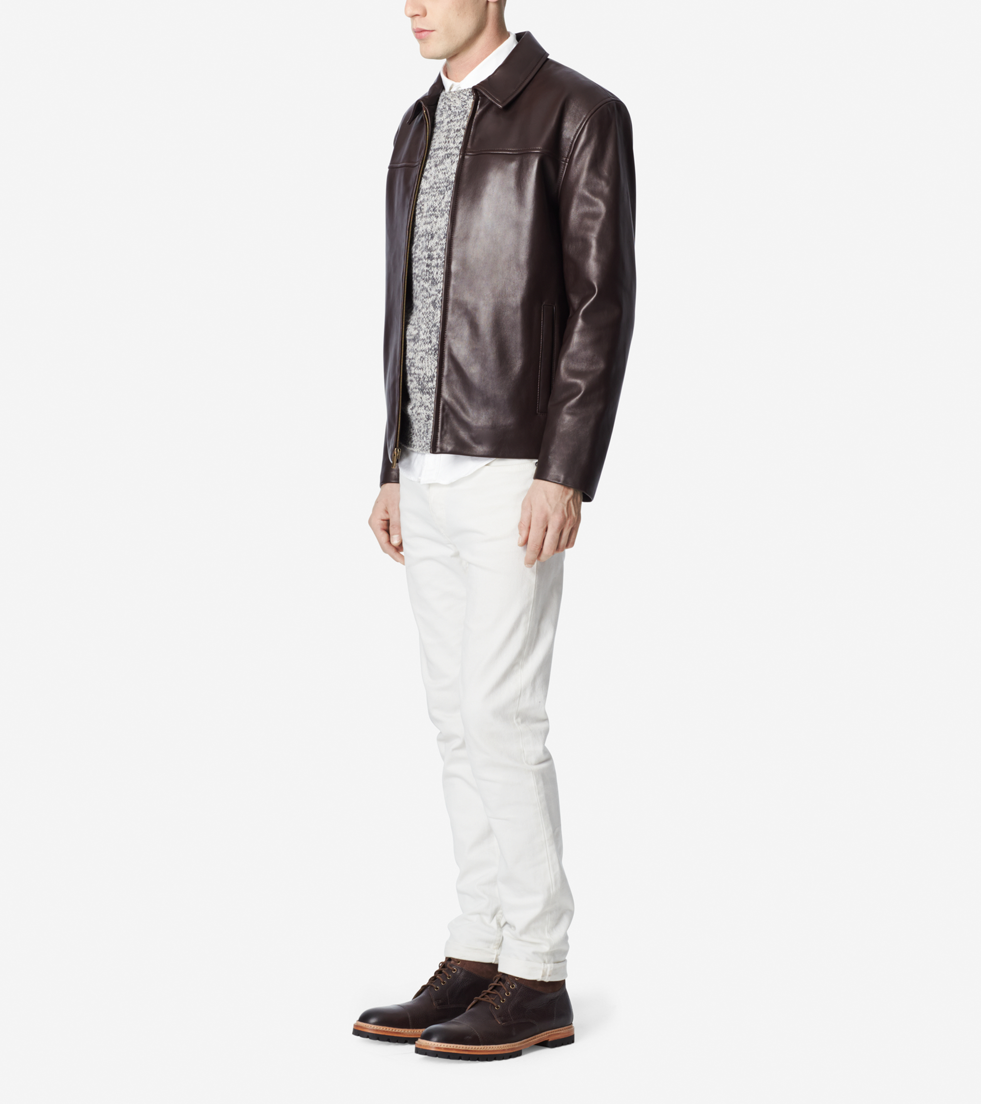 cole haan men's lamb leather moto jacket