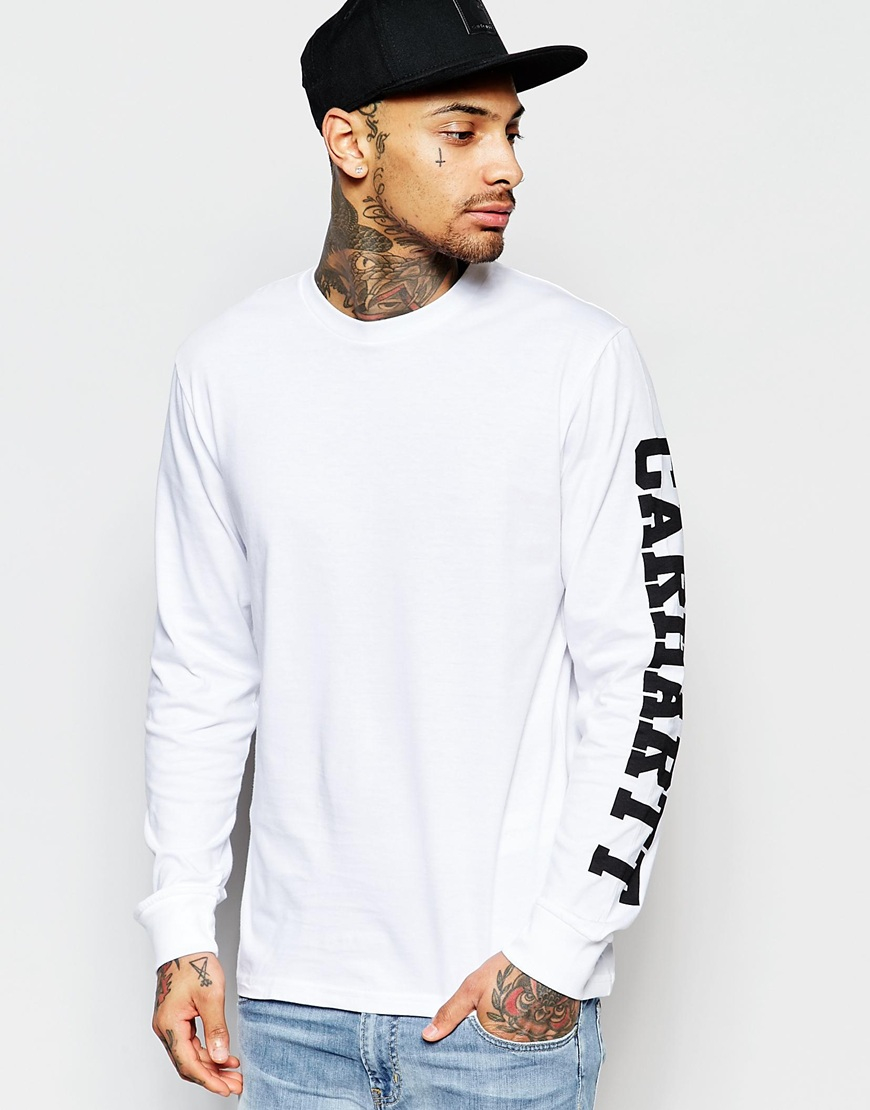 Carhartt wip college long sleeve t shirt with sleeve print for Carhartt long sleeve t shirts white