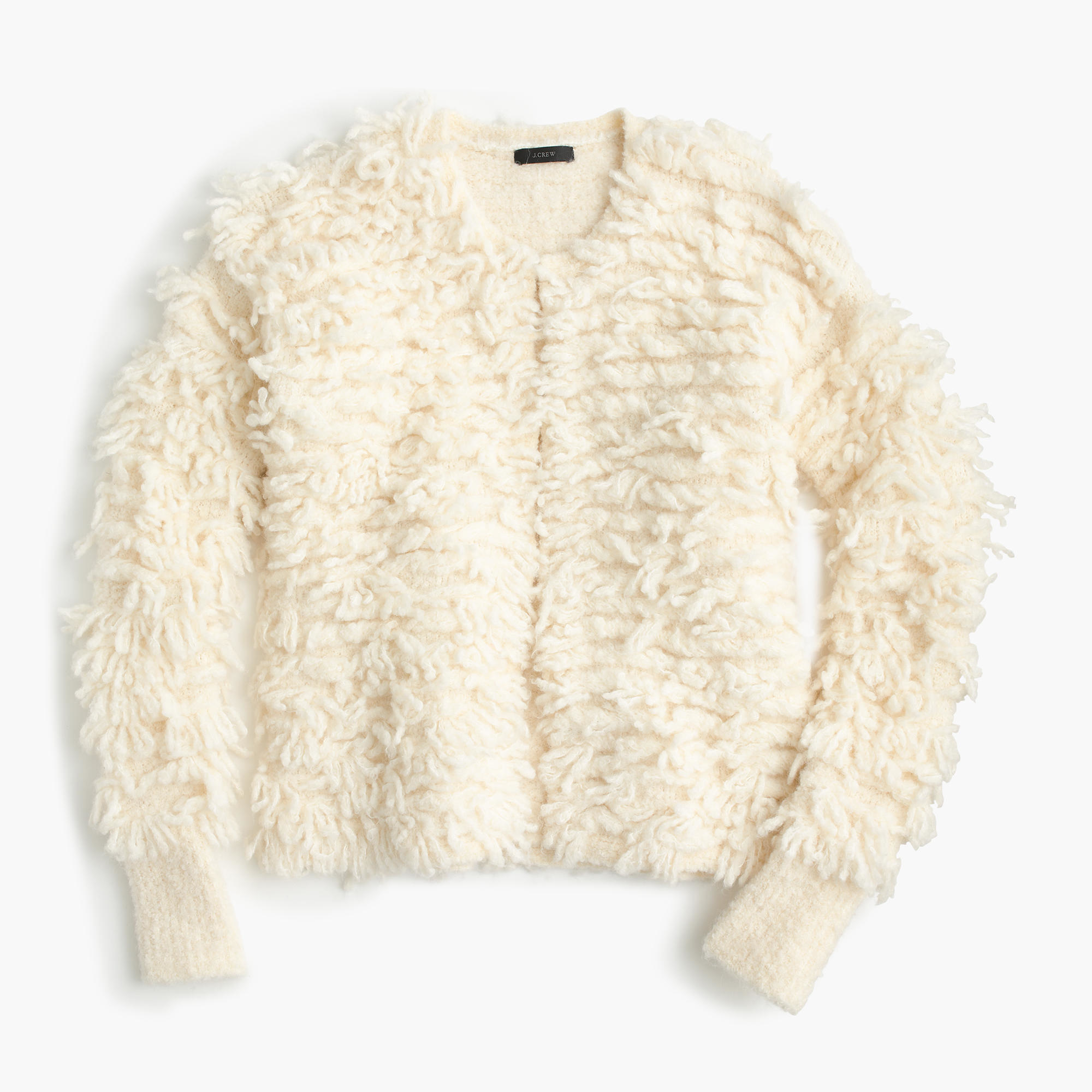J.crew Collection Bouclé Sweater-jacket in White | Lyst