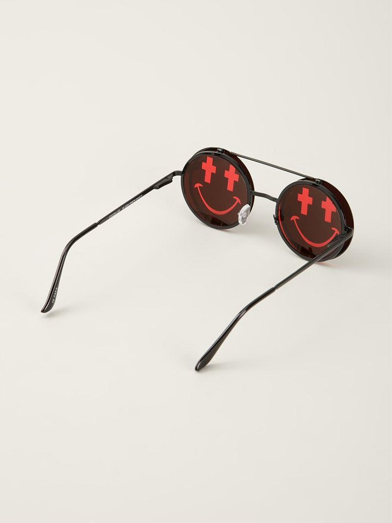 e4a829b6fc0 Lyst - Linda Farrow  jeremy Scott Smile  Sunglasses in Black