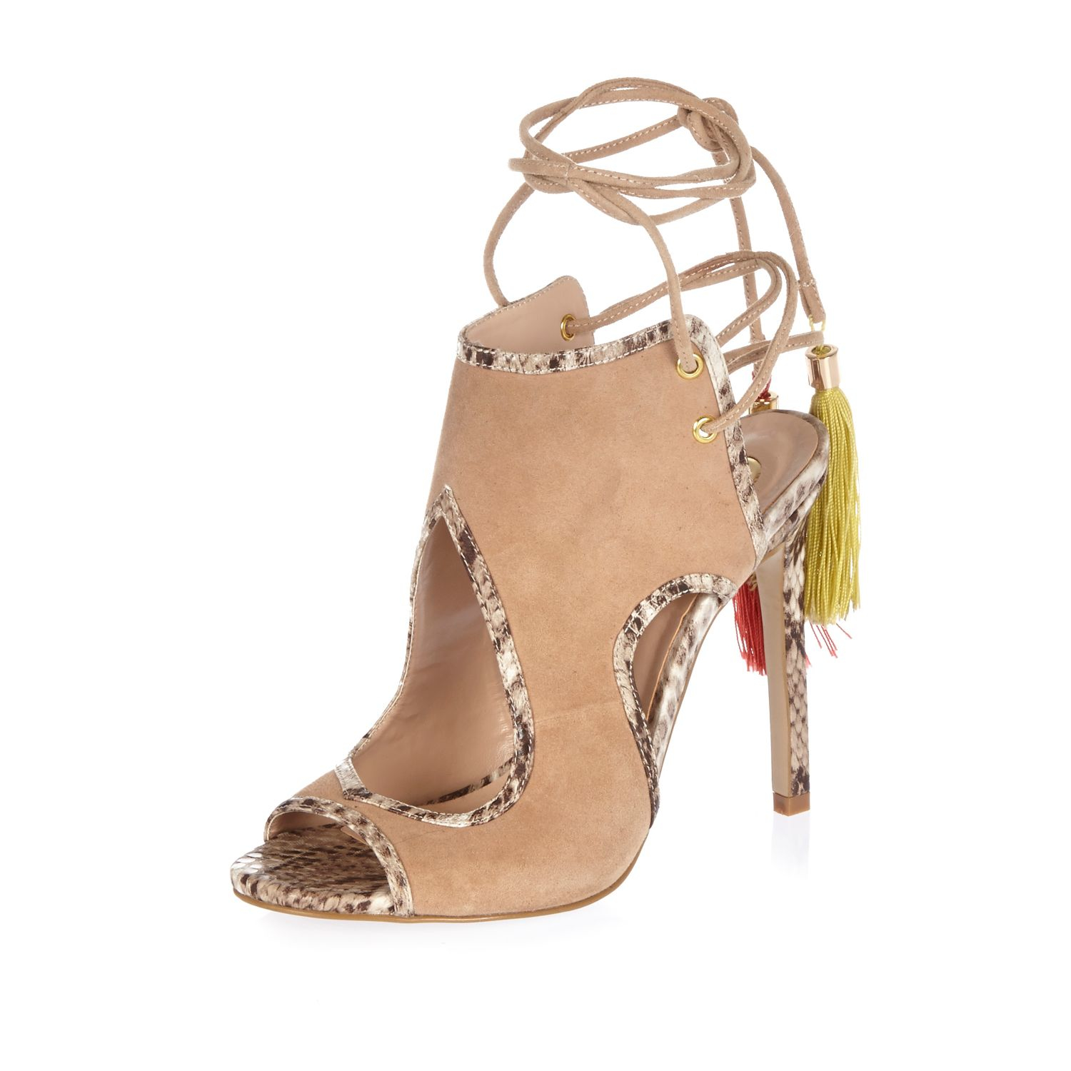 044da8a1e41994 River Island Light Brown Suede Tassel Lace-up Heels in Brown - Lyst