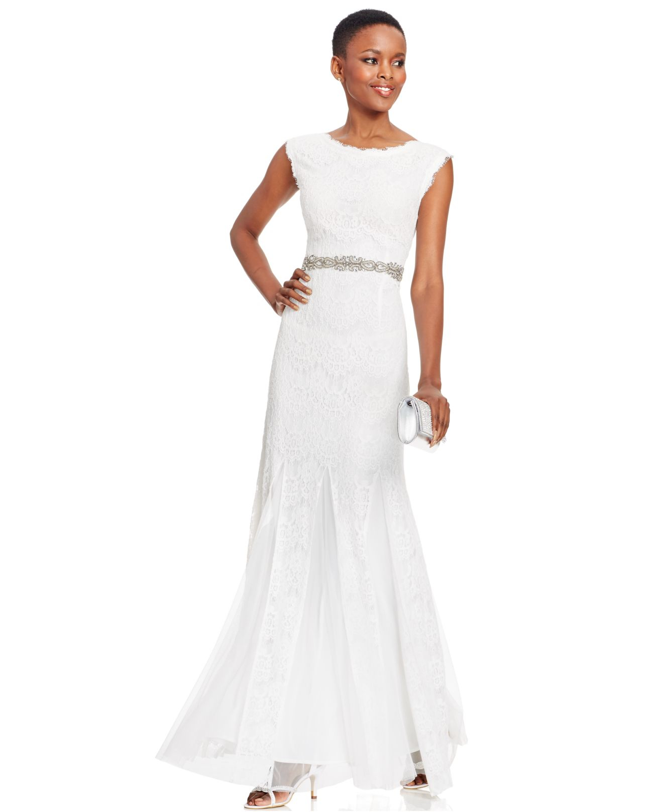 Lyst - Betsy & Adam Jeweled Chiffon-lace Gown in White
