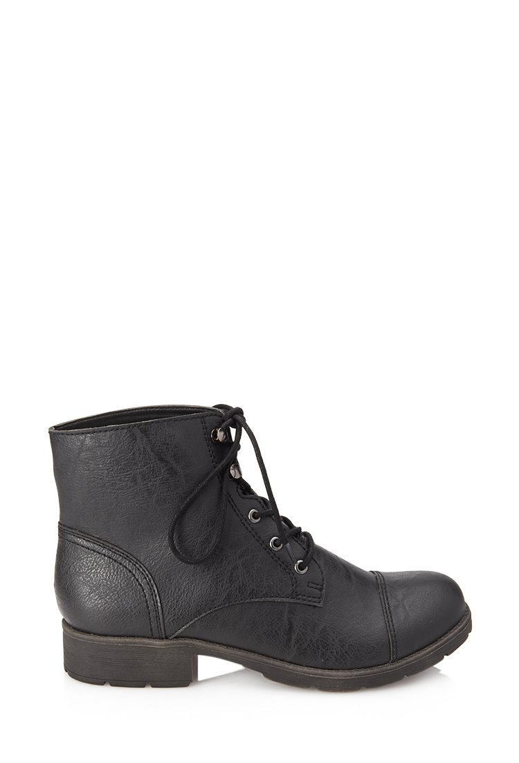 forever 21 textured faux leather hiking boots in black