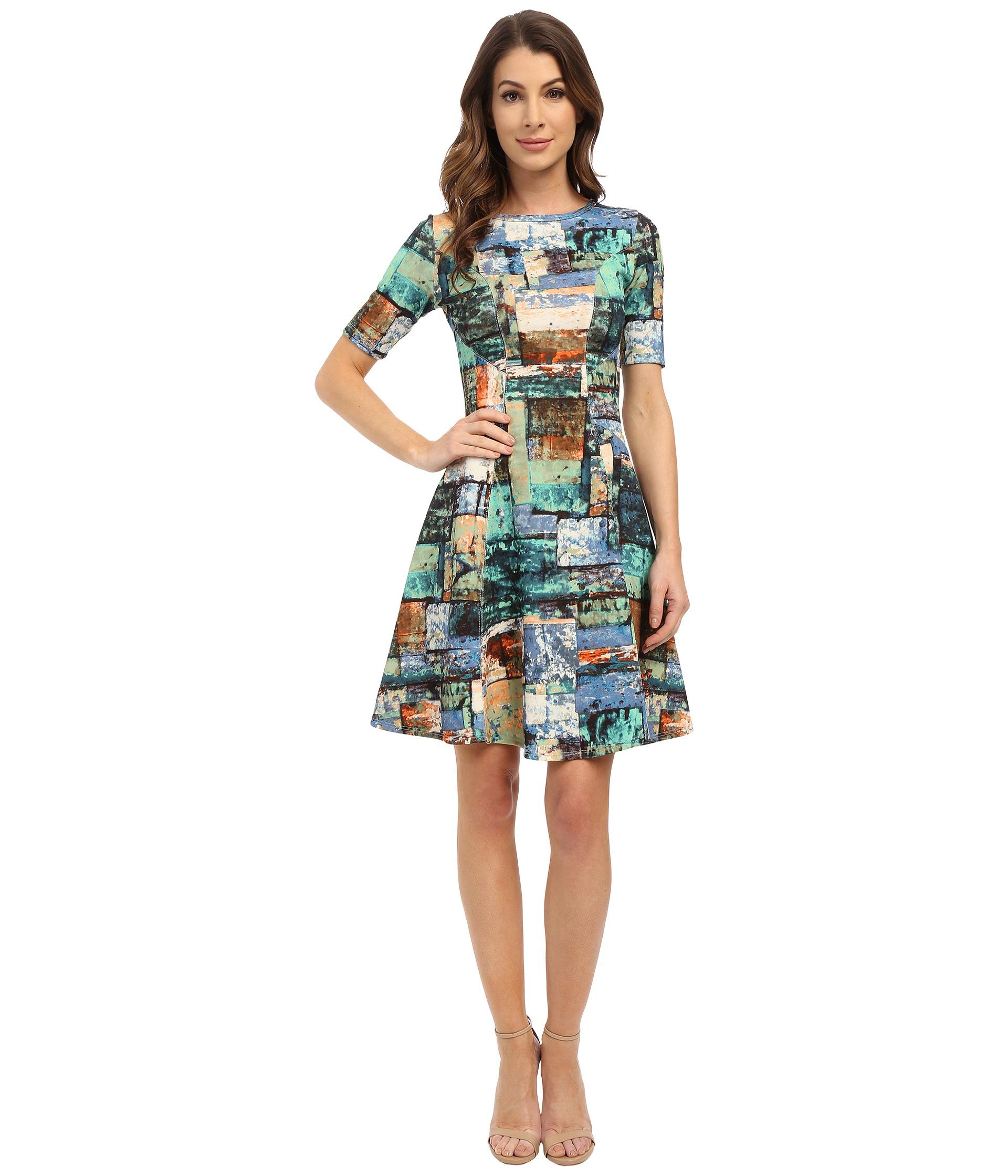Karen Kane Collage Print Scuba Dress In Blue Lyst