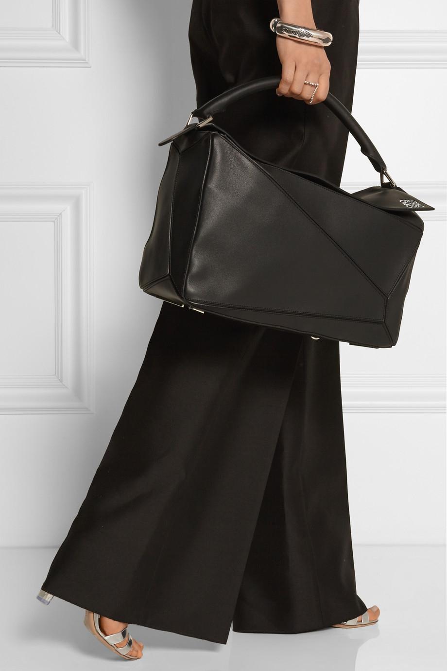 Loewe Puzzle Large Leather Shoulder Bag In Black Lyst