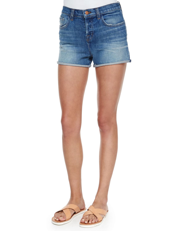 J brand Gracie High-Rise Cuffed Shorts in Blue   Lyst