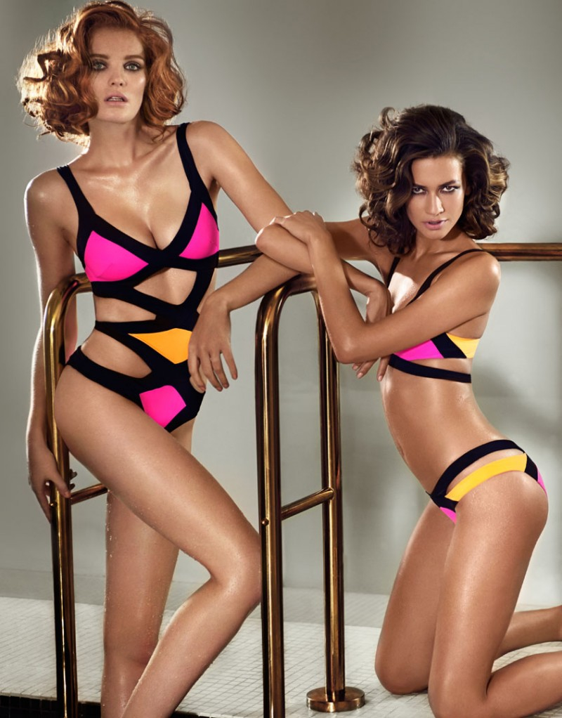 Lyst - Agent Provocateur Mazzy Swimsuit Blk pnk org in Orange 5cb289acd