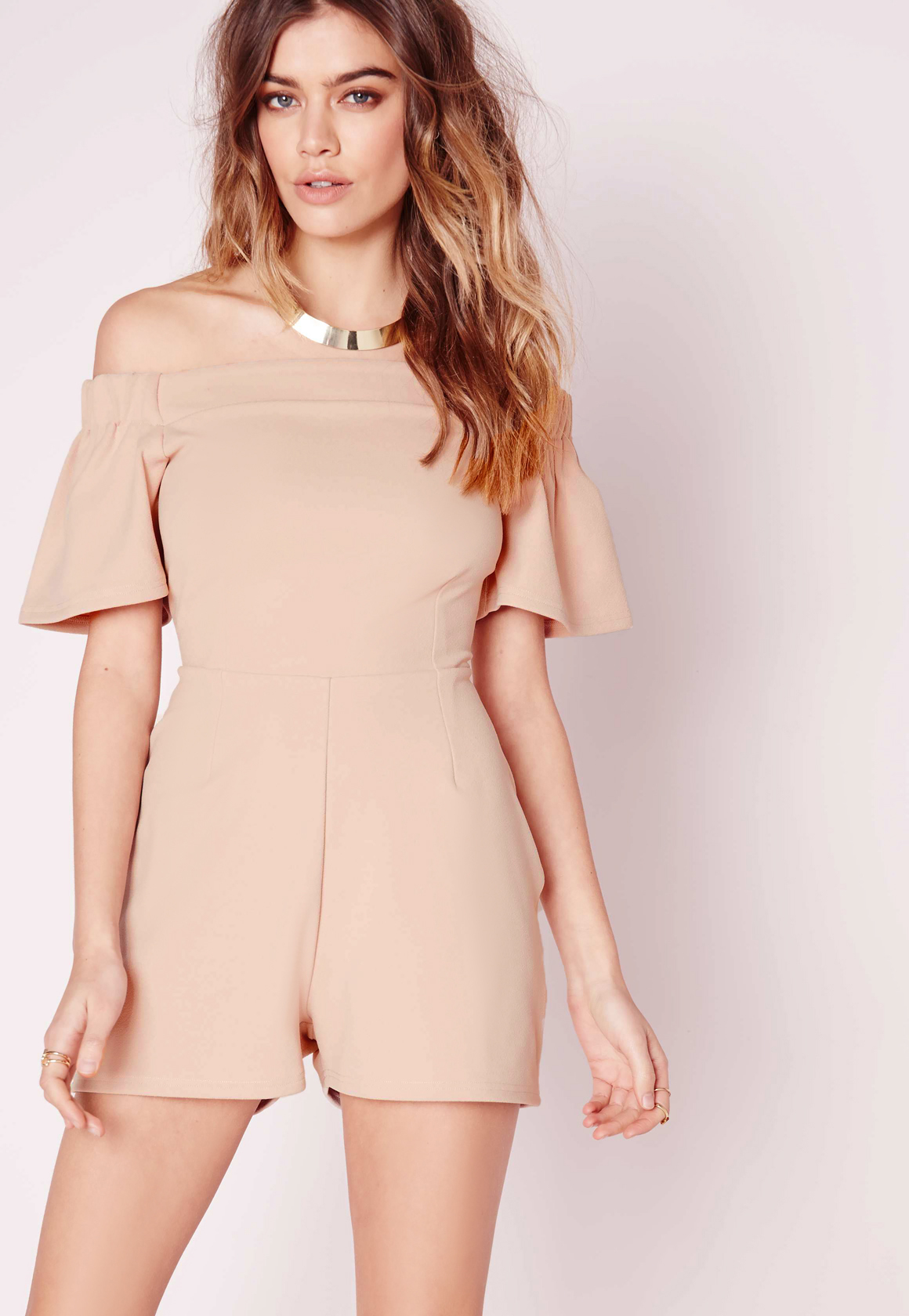 927e44f1ea Lyst - Missguided Bardot Frill Playsuit Nude in Natural