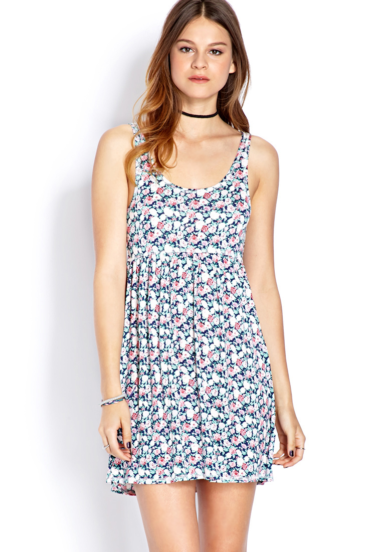 Forever 21 Retro Rose Babydoll Dress In Blue Navy Pink
