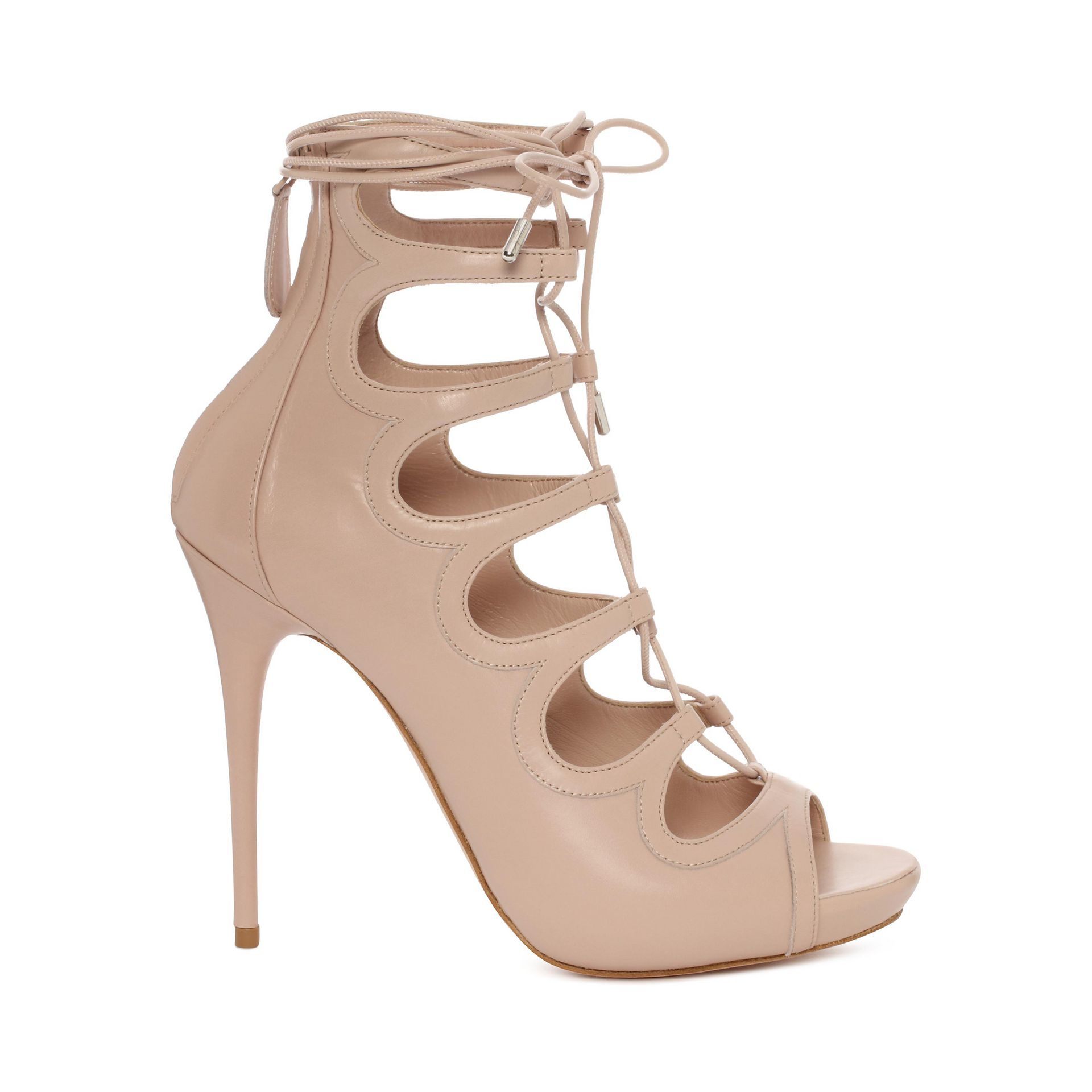 86e66c38d2f6 Alexander McQueen Cuba Calf Leather Lace Up Sandal in Natural - Lyst