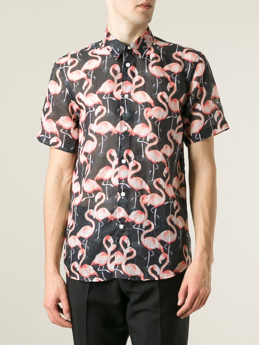 Lyst marc jacobs flamingo print shirt in black for men for Print photo on shirt