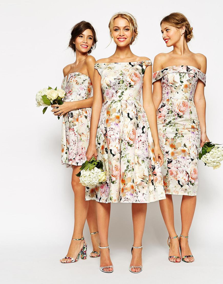 Asos Wedding Midi Floral Prom Dress Lyst