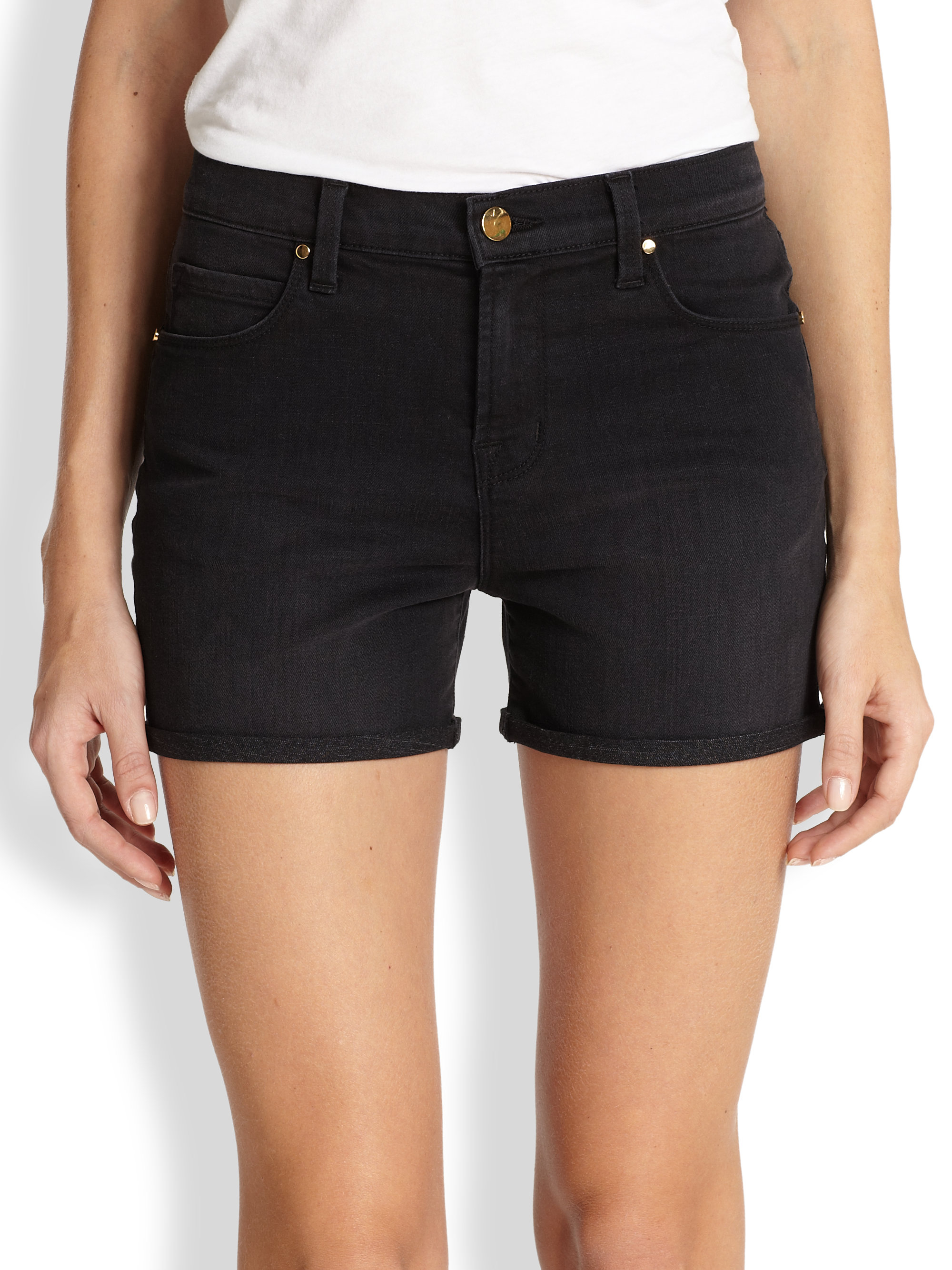 J brand Leigh High-Rise Denim Shorts in Black | Lyst