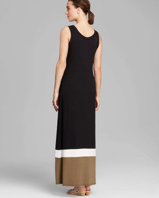 Black colour block maxi dress
