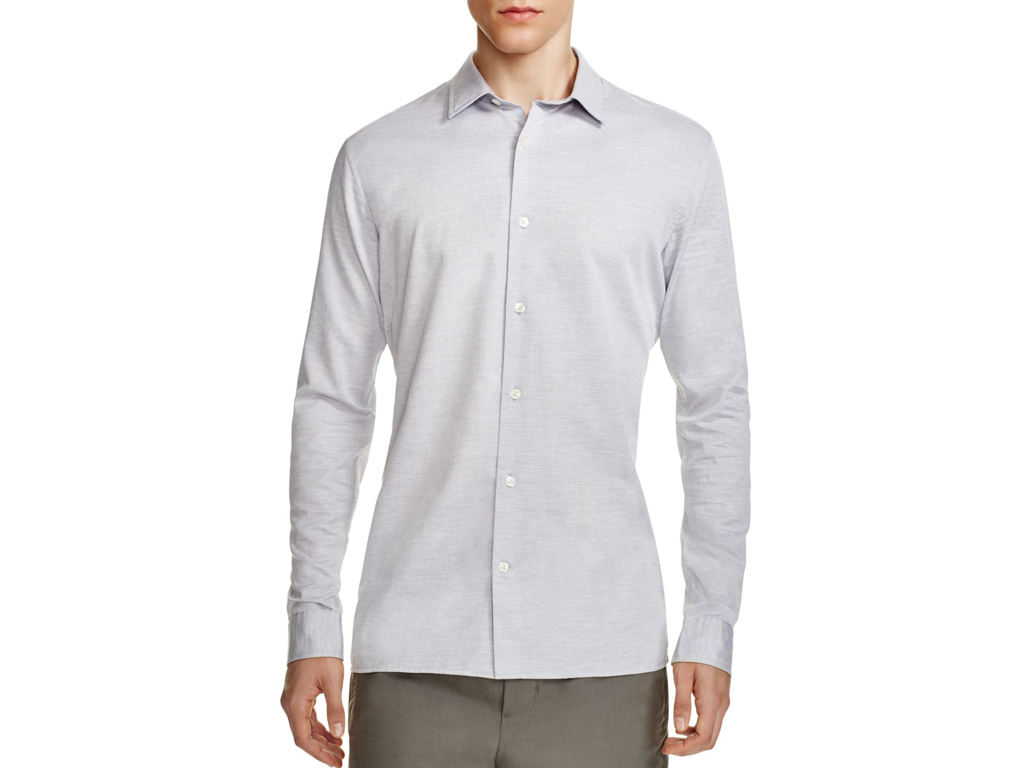 Vince Melange Slim Fit Button Down Shirt in Gray for Men | Lyst