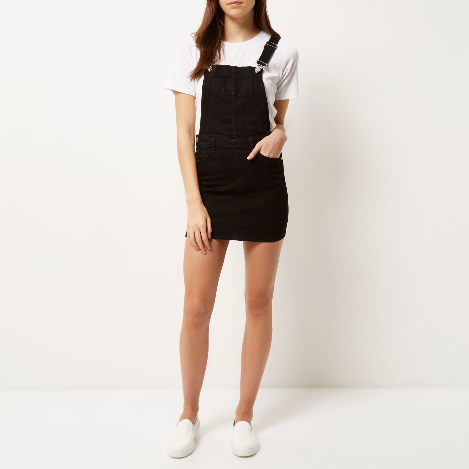 5d7043fd7ae Black Denim Overall Dress - Dress Foto and Picture
