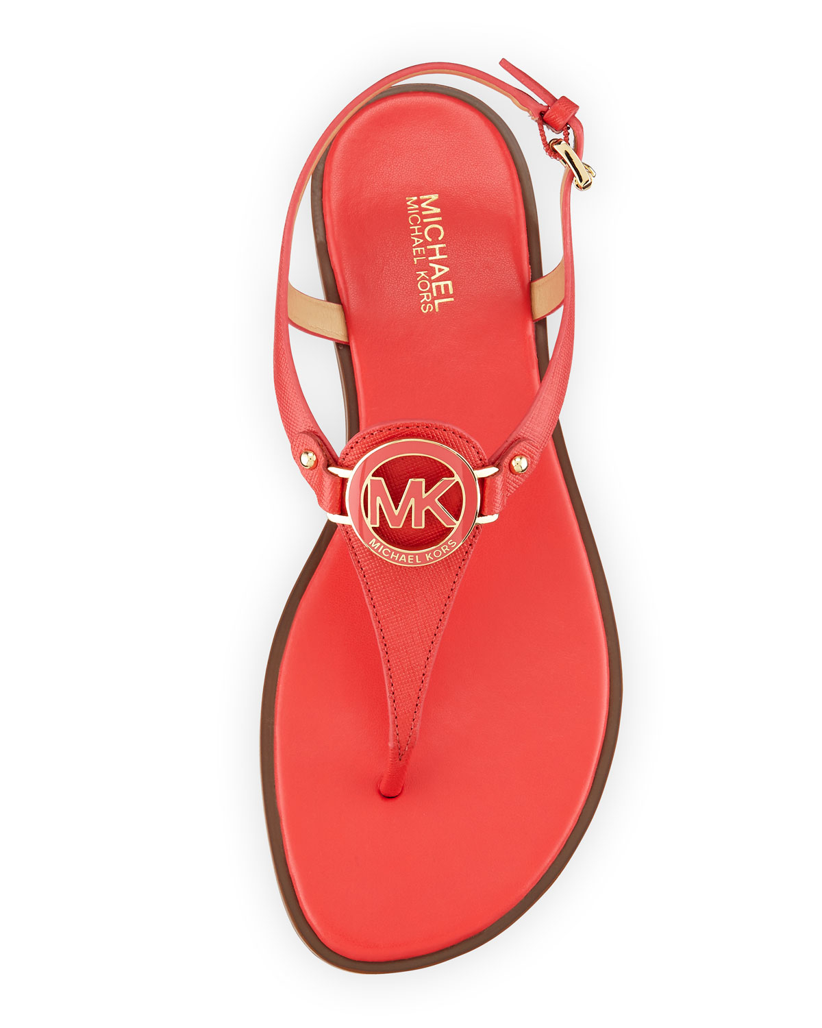 0c59d941c08e Lyst - MICHAEL Michael Kors Lee Leather Flat T-strap Sandal in Red