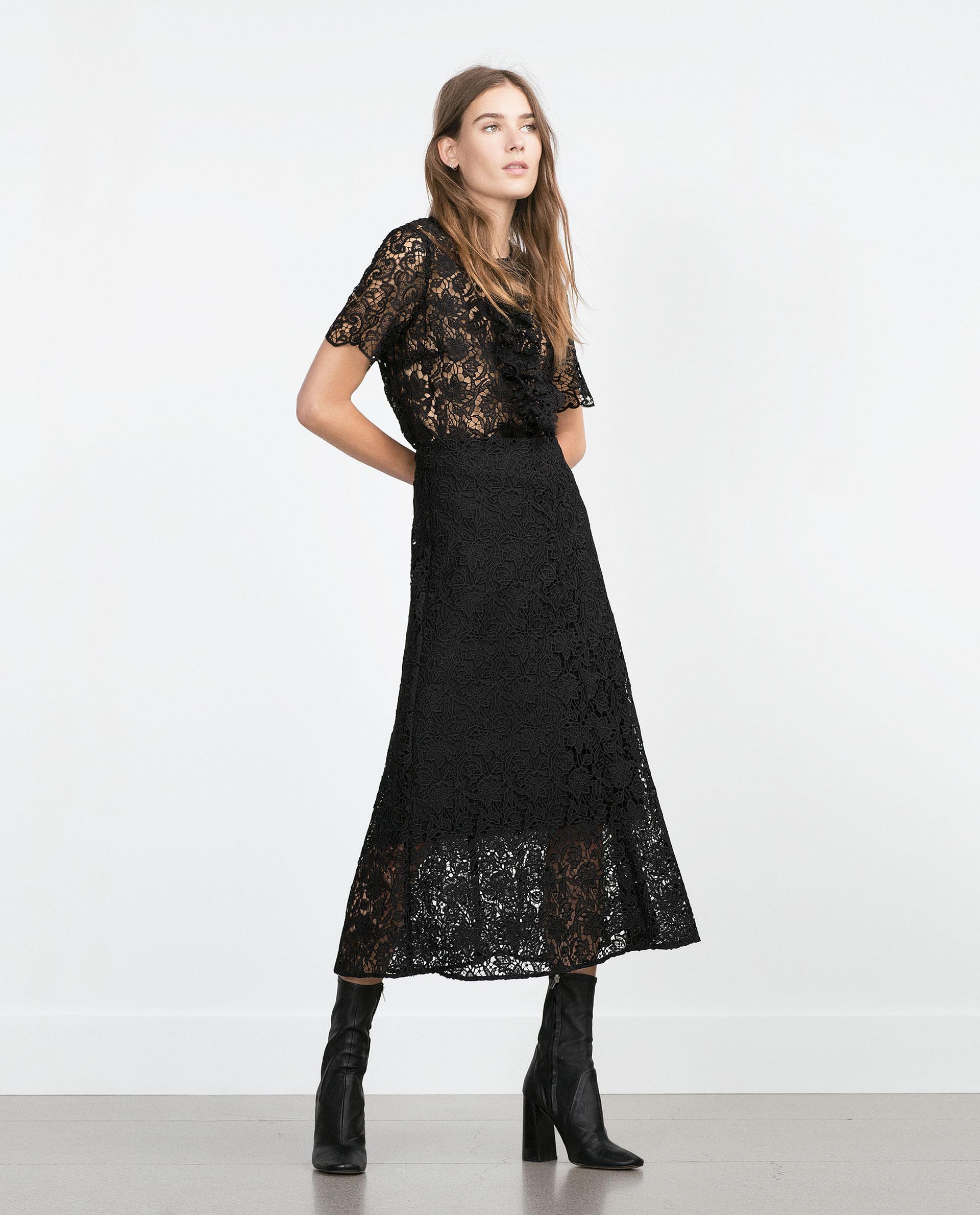 Zara Midi Length Lace Skirt in Black | Lyst