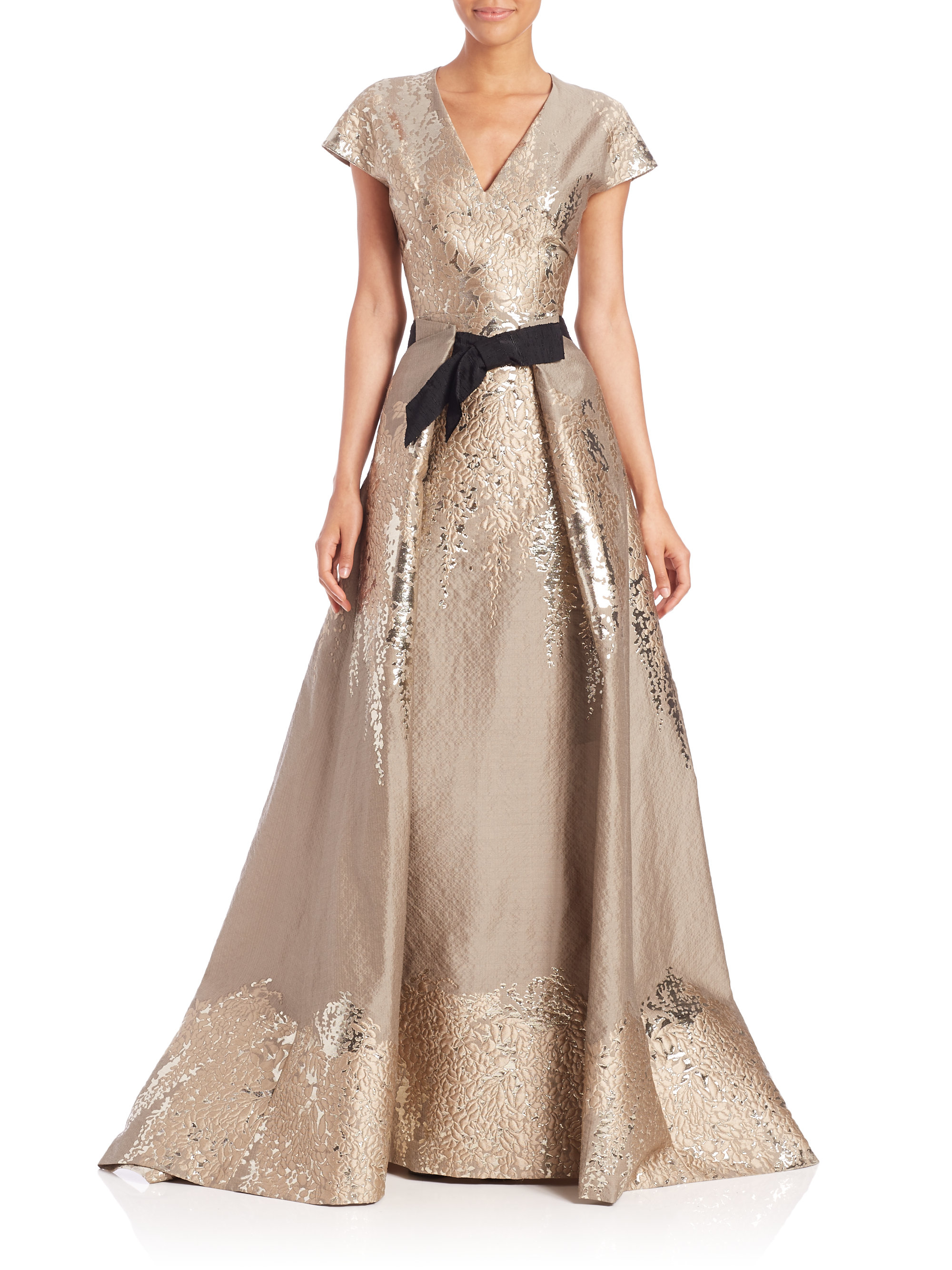 Lyst - Carolina Herrera Westeria Metallic Jacquard Gown in Metallic