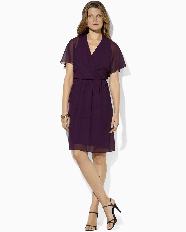 Lyst Ralph Lauren Lauren V Neck Flutter Sleeve Dress In
