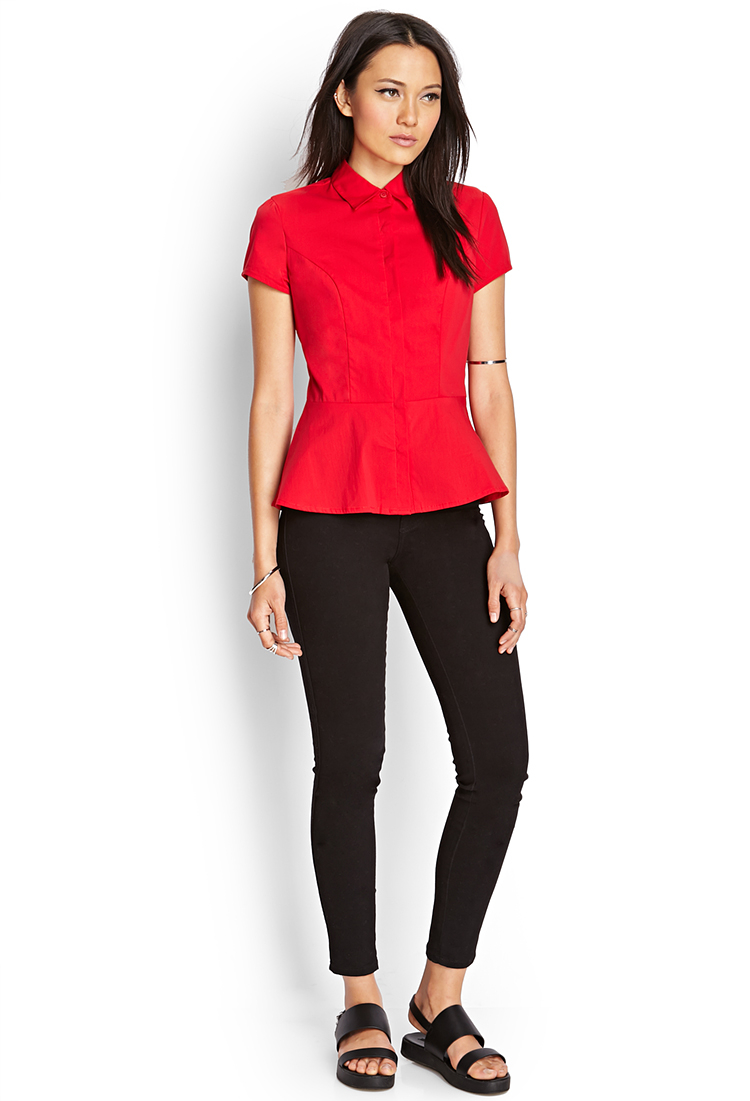 Lyst forever 21 fit flare dress shirt in red for How to find a dress shirt that fits