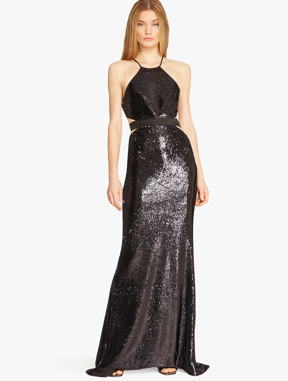 Halston Sequin Embellished Cut Out Gown In Black Lyst