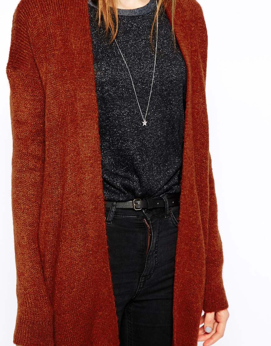 Asos Fluffy Cardigan In Longline Length in Red | Lyst