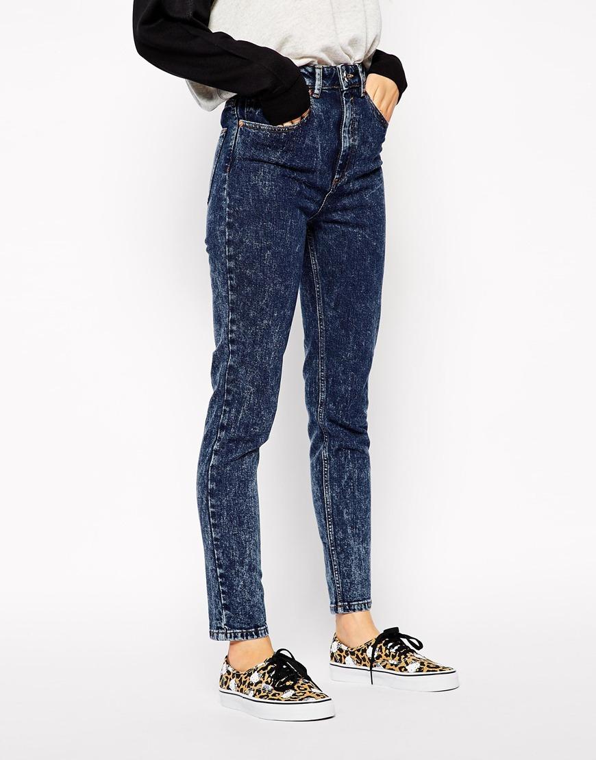 Lyst - Asos Farleigh High Waist Slim Mom Jeans In Indigo Snow Acid ... 0f8489619f56