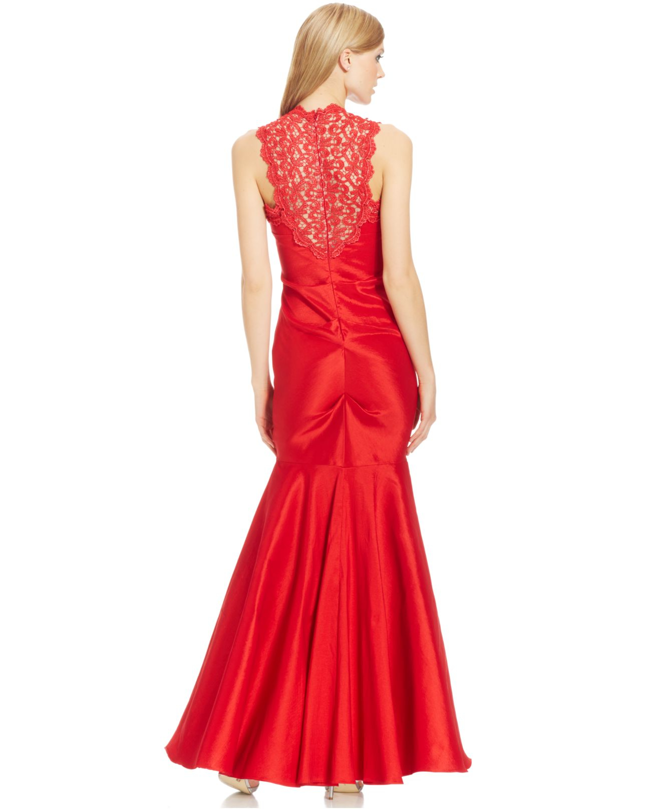 Lyst - Xscape Sleeveless Glitter Lace Mermaid Gown in Red