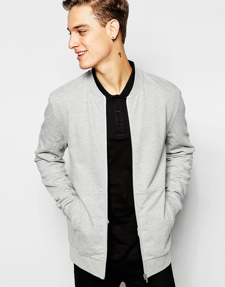 Asos Jersey Bomber Jacket With Cut & Sew Panel In Grey in Gray for ...