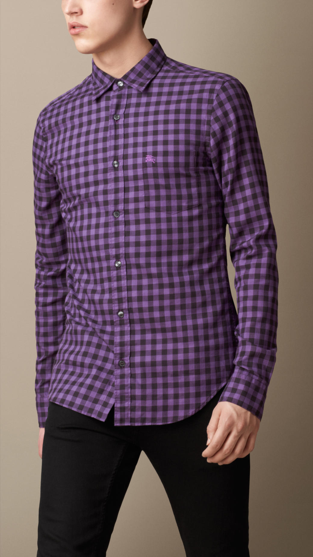 Burberry cotton gingham shirt in purple for men lyst for Men s purple gingham shirt