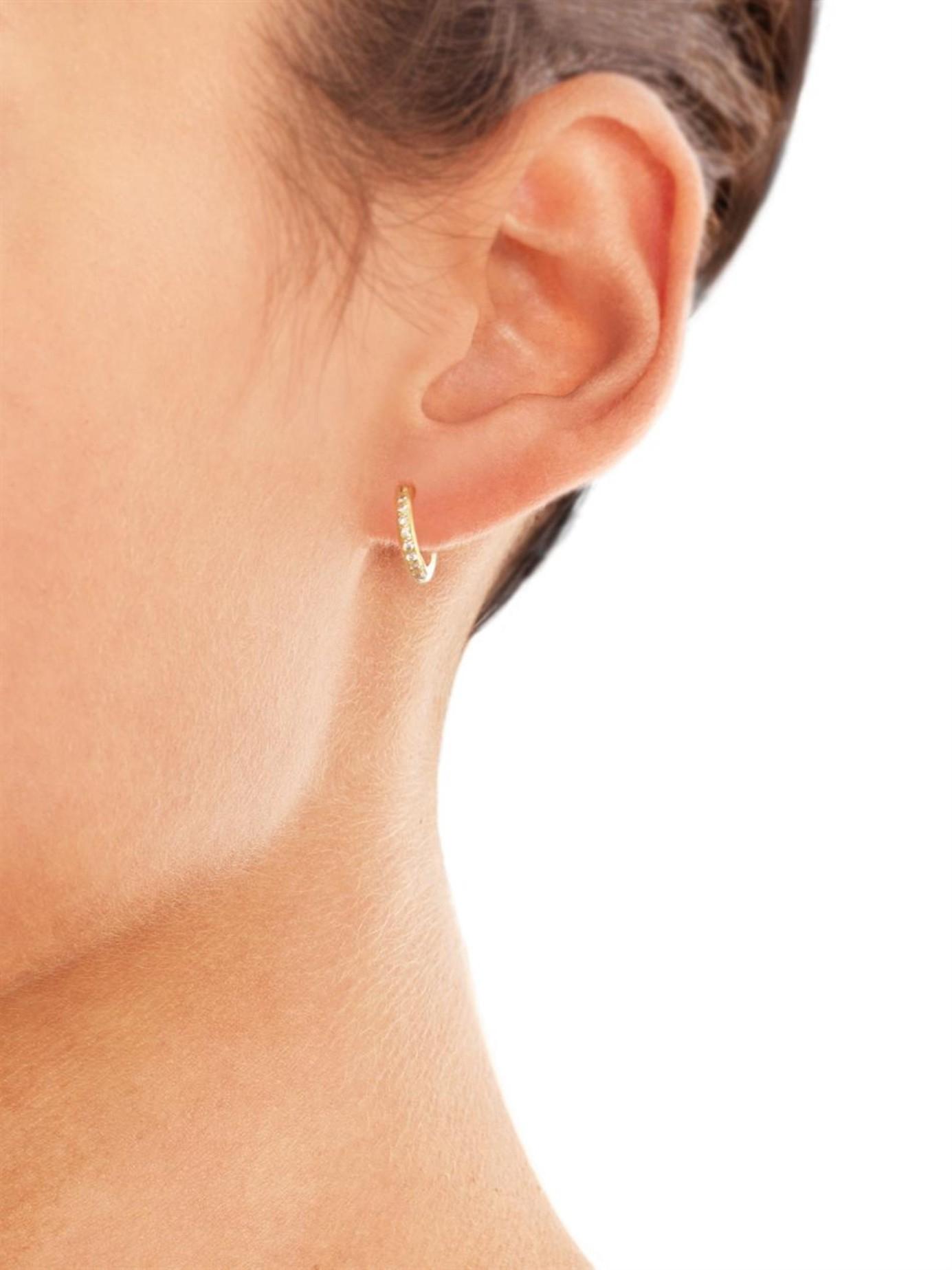 Ileana makri Diamond & Yellow Gold Mini Hoop Earrings in Yellow