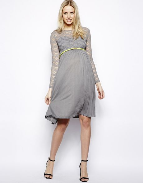 asos maternity lace top pleated midi dress with belt in