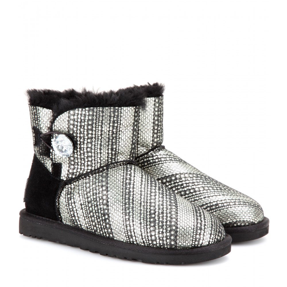 Lyst - UGG Mini Bailey Button Bling Shearling lined Boots in Black bbd3c5844a