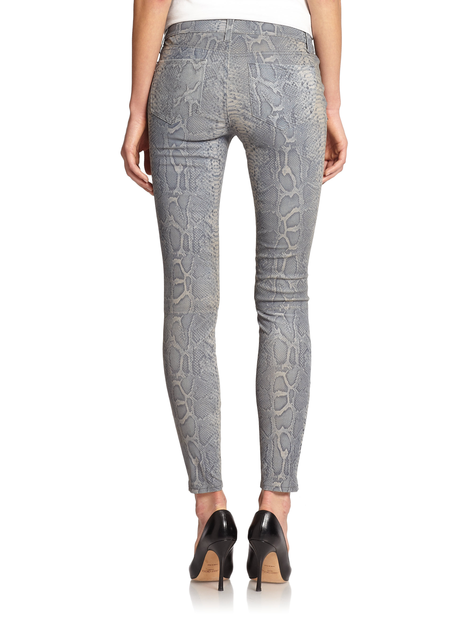 bc8e020c56d3 Lyst - J Brand Python Print Leather Skinny Jeans in Gray