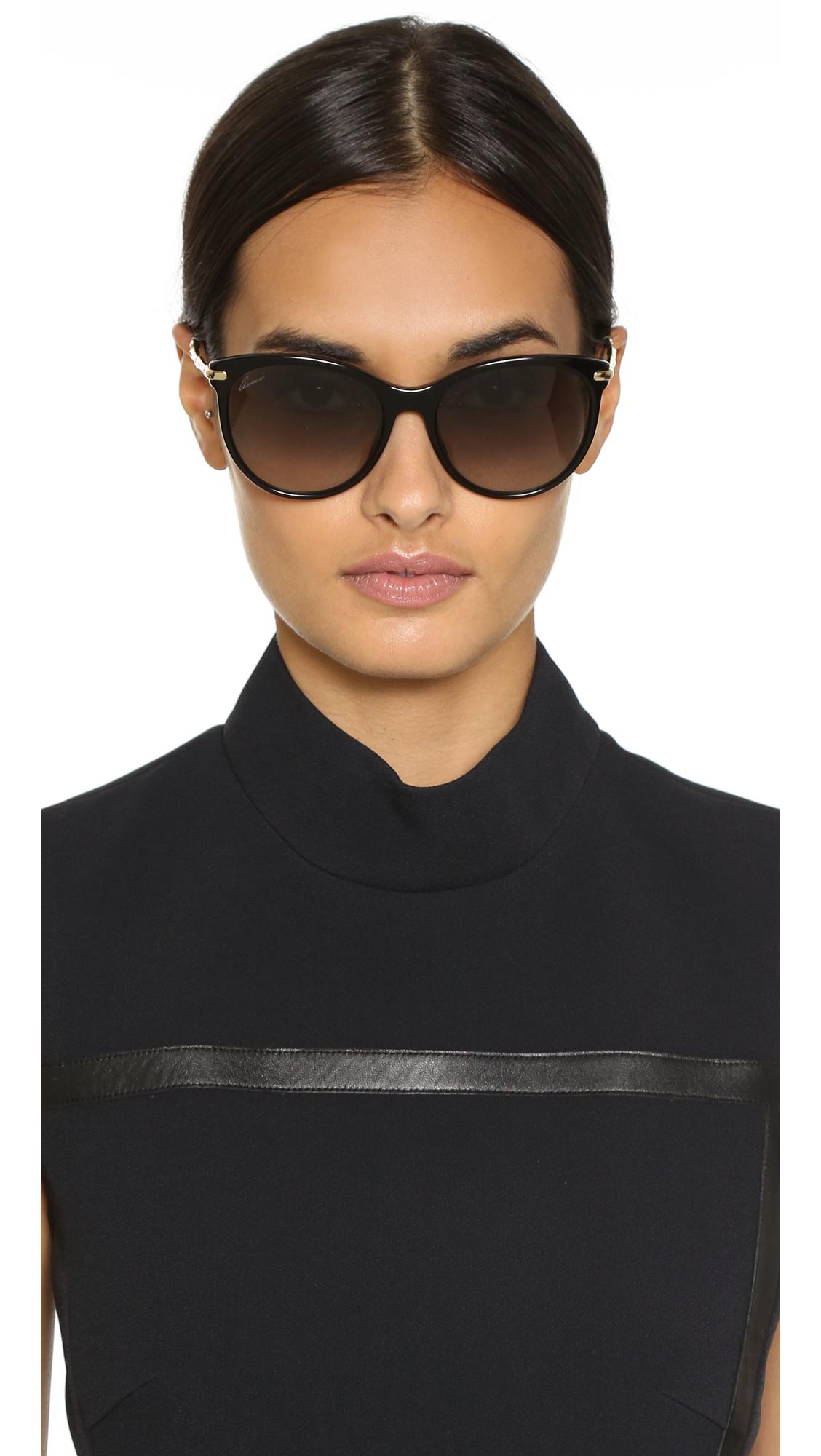b8b62b550dd6c Gucci Bamboo Temple Sunglasses in Black - Lyst