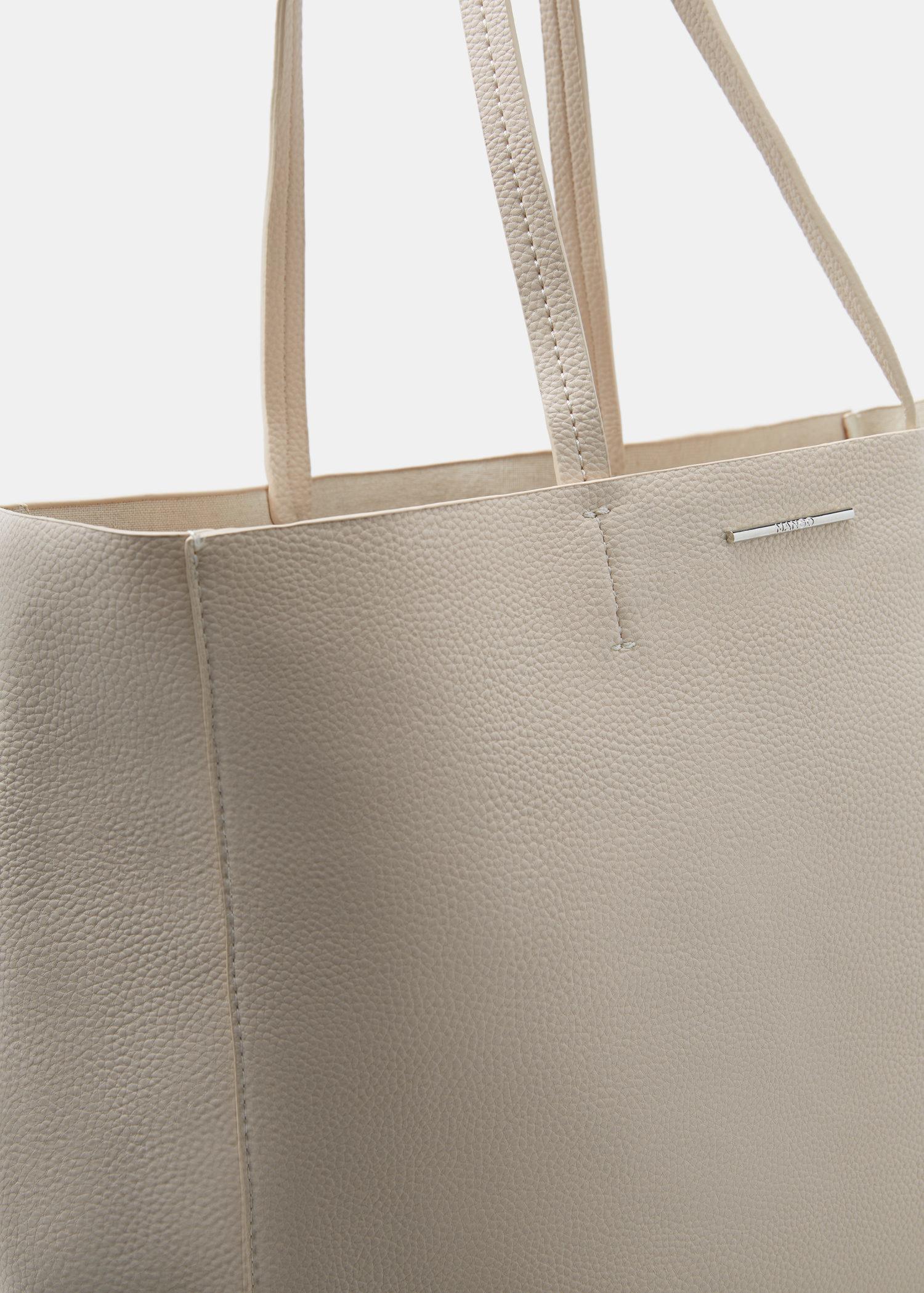 f4cf8b76e289 Mango Faux-leather Shopper Bag in Natural - Lyst